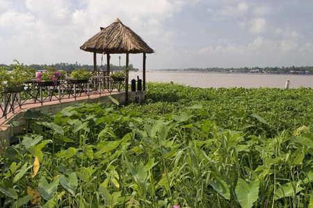 mekong: Panorama image Mekong River in Can Tho, Vietnam