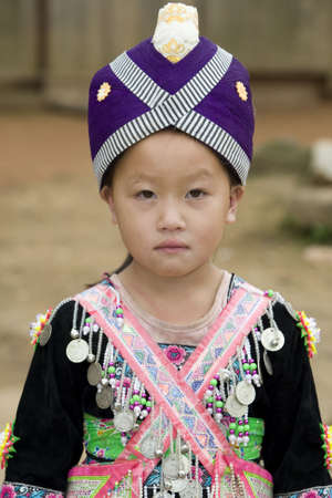 laos: Laos Hmong girl in traditional clothes