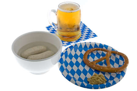 veal sausage: Munich October celebration with beer, cracknel and veal sausage Stock Photo