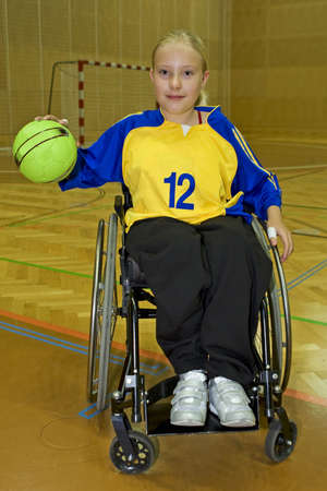 obstruction: Handicapped person sport handball in the wheelchair