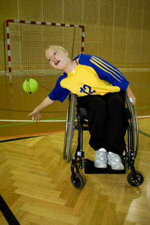 hindrance: Handicapped person sport handball in the wheelchair