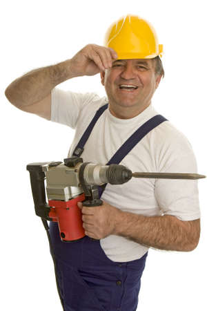 safety helmet: Trabajador con la m�quina de perforaci�n y casco de seguridad