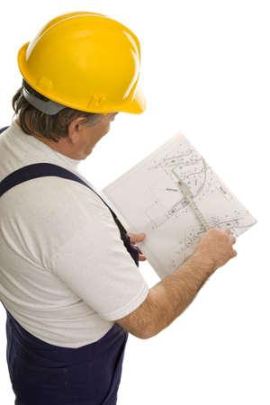 Bouw werknemer met plan van een architect