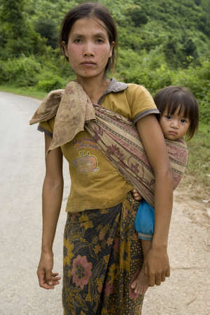 third world: Portrait Hmong woman with baby Stock Photo