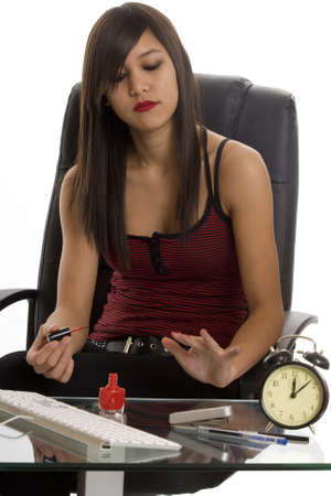 nail care: Office, secretary at nail care Stock Photo