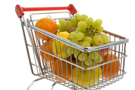 household money: Shopping trolley with fruits, supermarket