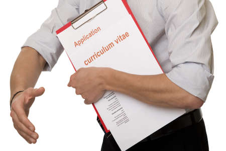 looking for work: Application job, with application document Stock Photo