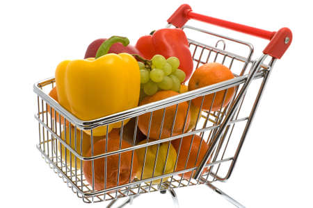 household money: Shopping trolley with fruits and vegetables Stock Photo