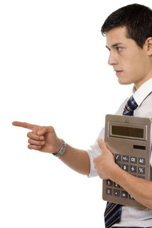 quantity surveyor: Businessman with gigantic pocket calculator
