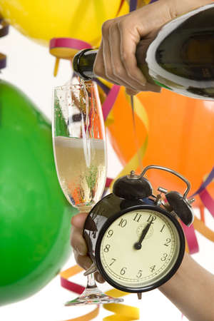 hogmanay: Turn of the year, New Year with champagne and clock