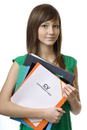appearing: Female student with briefcase CV, curriculum vitae, documents for the job search