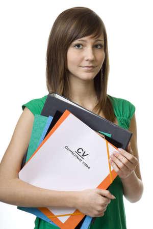 cv: Studentessa valigetta con curriculum vitae, curriculum vitae, documenti per la ricerca di lavoro
