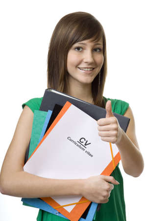 cv: Alumna con malet�n CV, curriculum vitae, documentos para la b�squeda de empleo