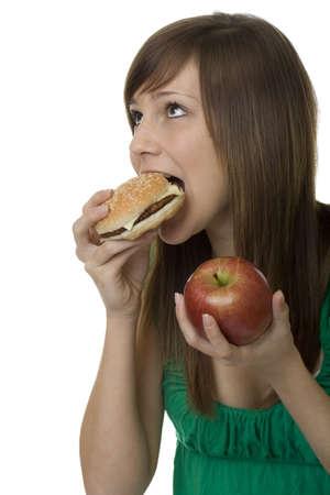 rearrangement: burger or apple, female teenager choose food