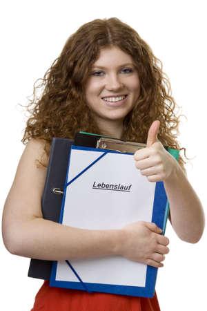 Schülerin mit Aktenkoffer Lebenslauf Standard-Bild - 4473358