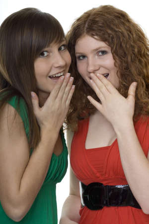 embarrassing: two women with gestures astonishment Stock Photo