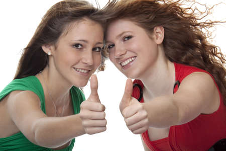neat: lucky teenager with thumbs up Stock Photo