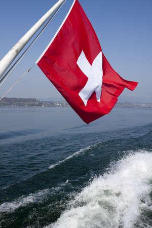 flagpoles: Swiss flag, Zurich sea