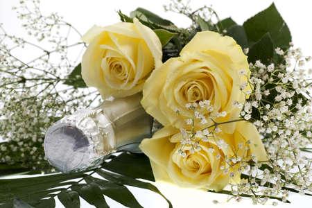 botella champagne: rosas con botella de champagne Foto de archivo