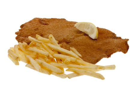 viennese: Viennese escalope with French fries Stock Photo