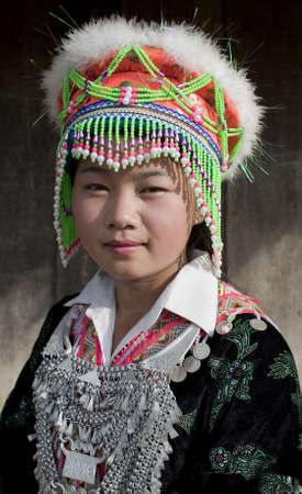 national costume: Portrait Asian woman Laos, Hmong