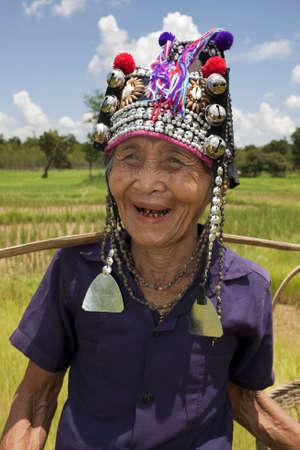 Portrait old Asian woman, Akha photo
