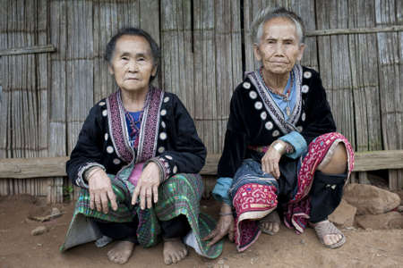 ethnic group: old women in Asia, ethnic group Meo Stock Photo