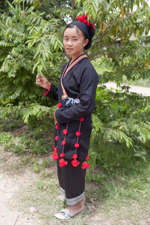 national costume: Asian woman in national costume, Laos Stock Photo