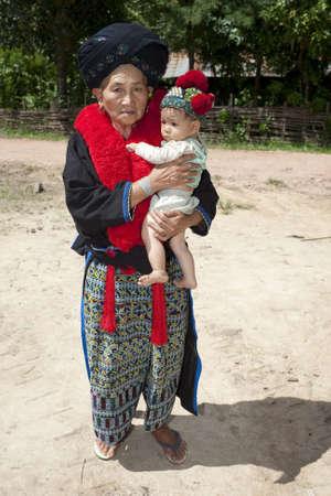 ethnic group: Portrait woman Asia with baby, ethnic group Yao Stock Photo