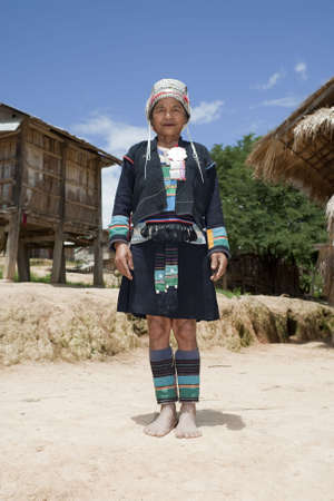 Asian woman Akha in traditional costume, Laos photo