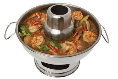 yum: Tom Yum Goong soup, fire pot