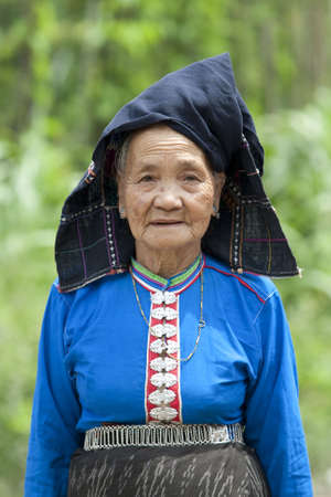 national costume: old woman Asia in national costume, Laos
