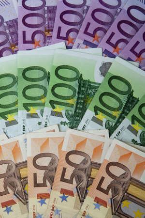50 euro: European money, 50 Euro, 100 Euro and 500 Euro banknotes Stock Photo