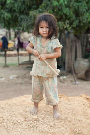 neglected: Portrait girl of Laos in poverty