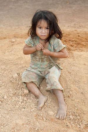 Porträt Mädchen von Laos in Armut