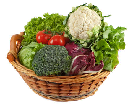 Basket with colorful vegetables Stock Photo