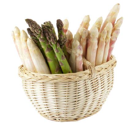 fresh asparagus in basket