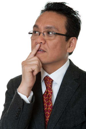 manly man: Portrait Asian businessman thinking Stock Photo