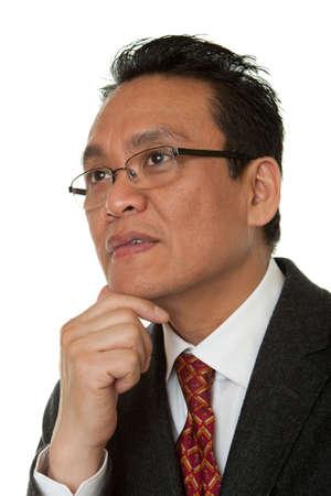 moulder: Portrait Asian businessman thinking Stock Photo