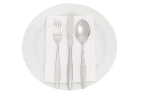serviette: plate with cutlery and serviette Stock Photo