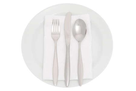 servilleta de papel: plato con cuchiller�a y servilleta  Foto de archivo