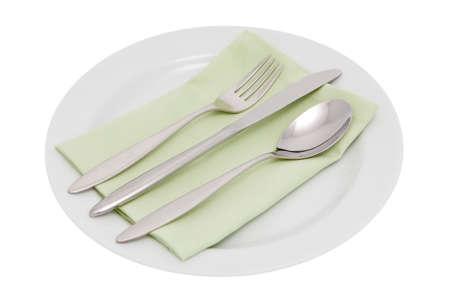 Serviette: plato con cuchiller�a y servilleta  Foto de archivo