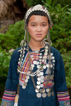 Portrait young Akha in Laos photo
