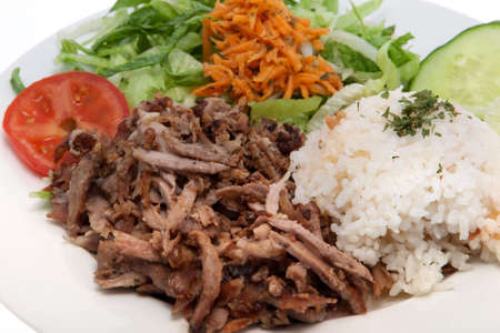 Kebab, turkish food with meat and salad against white background Standard-Bild