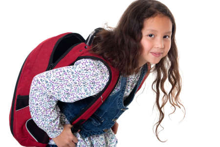 strenuous: Pupil with schoolbag Stock Photo