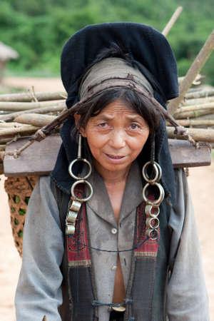 Portrait woman of Akha in Laos photo