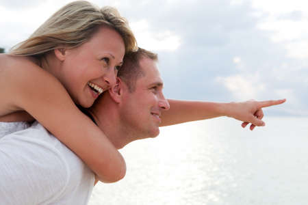 laughing couple: happy people Stock Photo