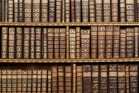 library shelf: old antique books