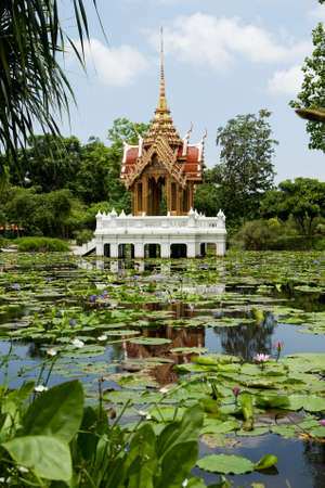 buddhist temple in the lake photo