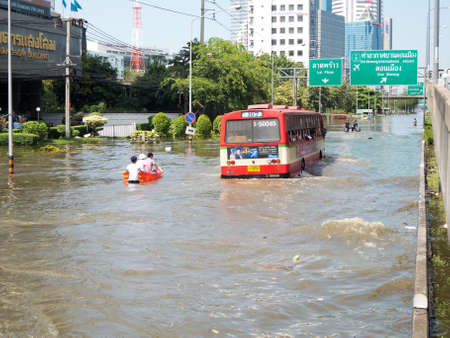 Bangkok, Thailand - November 8, 2011: Heavy flooding in Thailand since July is slowly encroaching on the capital, Bangkok on the 8 of November 2011 at Don Muang area in Bangkok.